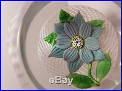 Gorgeous Saint Louis Blue Clematis Flower Art Glass Paperweight