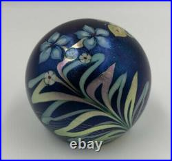 Grant Randolph Studio Blue Aurene Paperweight Signed Feather Pull Butterfly