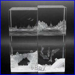HOYA CRYSTAL Unique Landscapes Art Glass Two Sculptures/Paperweights, Apr 5Hx2W