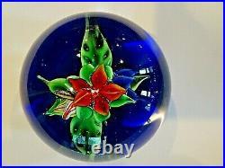 HTF Signed RON HANSEN Art Glass LAMPWORK Floral FLOWER Paperweight Cobalt Blue