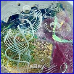Handblown glass paperweight Art glass Dichroic signed