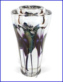 Heavy 1999 David Lotton Studio Art Glass Crystal Paperweight Vase Flowers 8.75