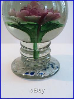 Heavy Vintage Art Glass 5 Pedestal Paperweight, Large Internal Flower
