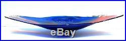 Henry Summa Huge Cobalt Blue/red Art Glass Sculptural Platter