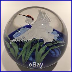 Huge Daniel Salazar Lundberg Studios Art Glass Paperweight Sandhill Crane