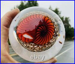 Incredible signed RICHARD SATAVA hand blown 4.75 Red Nautilus Paperweight WOW