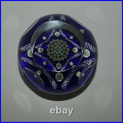 JOHN DEACONS Scotland Facetted Clichy Square Blue Magnum paperweight