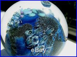 JOSH SIMPSON INHABITED PLANET PAPERWEIGHT Blue/Multi, Orbiting Space Station, 3