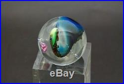 JOSH SIMPSON Planet Otherworld Glass Marble/Paperweight with Stand, Apr 1.5(dia)