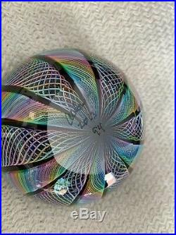 James Alloway Signed 3.25 Diameter Art Glass Dichroic Marble Paperweight #94