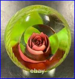 Joe St. Clair Rose Glass Paperweight