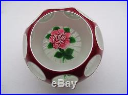 John Deacon Faceted Flower Paperweight Signed Jhd 1996 To Base