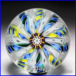 John Deacons 2002 three-colored crown glass paperweight