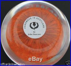 John Deacons ART GLASS PAPERWEIGHT Millefiori Orange