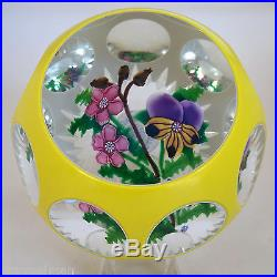John Deacons J Glass Early Paperweight Double Yellowithwhite Overlay Signed