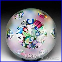 John Deacons end-of-day scrambled millefiori frosted faceted glass paperweight