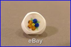 John Gooderham Cut Overlay Art Glass Paperweight Button Interior Flower J Cane