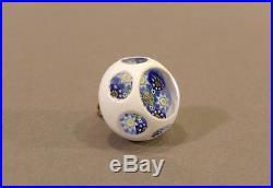 John Gooderham Overlay Art Glass Paperweight Button Millefiori Signed J Cane