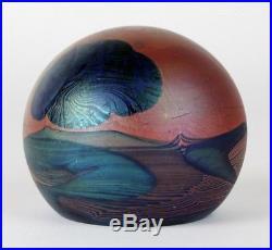 John Lewis Orange Blue Leaf Iridescent Studio Hand Blown Art Glass Paperweight