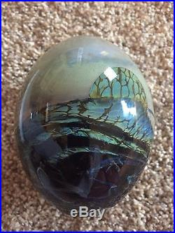 John Lewis Studio Art Glass MOONSCAPE PAPERWEIGHT Signed & Dated 1971