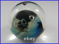 Josh Simpson #1-93 Inhabited Planet Paperweight Rocket Blue Bubbles 3 D 1989