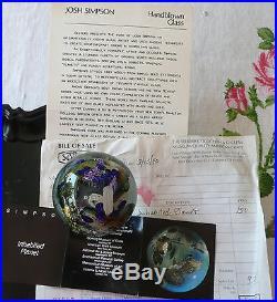 Josh Simpson 1990 Inhabited PlanetStudio Art Glass PaperweightSignedw Receipt
