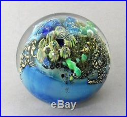 Josh Simpson 1993 Glass Sphere Art Paperweight 3 Inhabited Planet