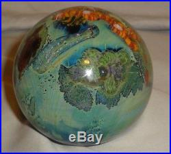 Josh Simpson 3 Inhabited Planet Sphere / Paperweight Art Glass WHAT A WORLD