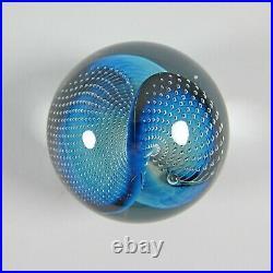 Josh Simpson Art Glass Gravitron Planet Blue Paperweight Wave & Bubbles 2003