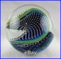 Josh Simpson Contemporary Studio Art Glass Gravitron Paperweight Green, Blue