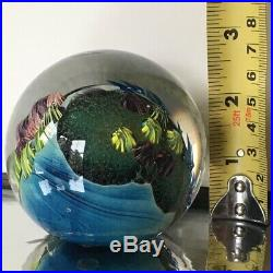 Josh Simpson Inhabited Planet Glass Paperweight 1991 Free Shipping