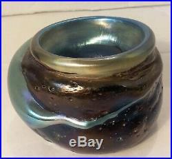 Josh Simpson Iridescent Art Glass Vase Molten Lava Signed 1980