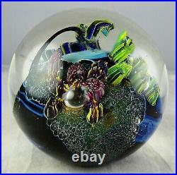 Josh Simpson Multicolored Inhabited Planet Studio Art Glass Paperweight 1986