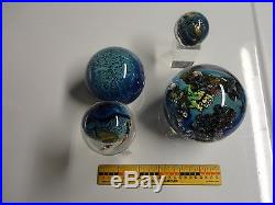 Josh Simpson Set of 4 Planets / Marbles Art Glass