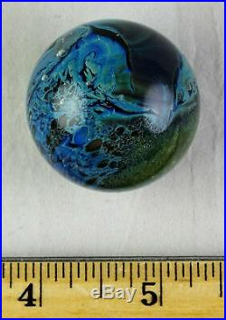 Josh Simpson Small Inhabited Planet Spherical Art Glass Paperweight Early Rare