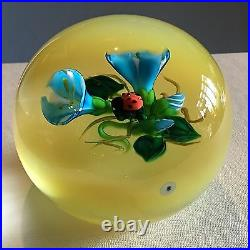 KEN ROSENFELD Lady Bug and Blue Flowers on Yellow Base Brand New