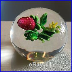 KEN ROSENFELD Strawberry and Bud Paperweight Brand New