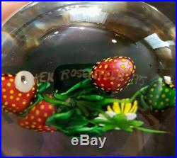 KEN ROSENFELD Strawberry and Bud Paperweight, Gorgeous
