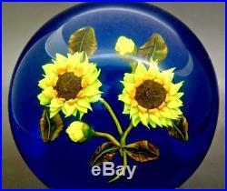 KEN ROSENFELD Yellow Sunflowers Art Glass Unique Paperweight, Apr 2.5H x 3.25W