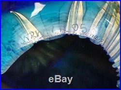 KOG John Wolfe Aqua Blue Fossil Nautilus Art Glass Magnum Studio Paperweight