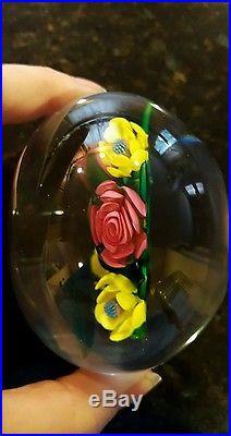 Ken Rosenfeld Art Glass Paperweight Floral Flower Bouquet, 1992