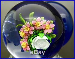 Ken Rosenfeld Floral Bouquet Art Glass Stand Small Paperweight, Apr 2.5Hx2.25W