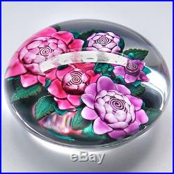 Ken Rosenfeld Lampwork Flowers Bouquet Studio Art Glass Paperweight