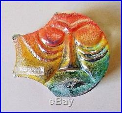 Kjell Engman KOSTA BODA Paperweight Signed Face Art Glass- Orig. Sticker MCM