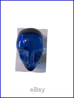 Kosta Boda Bertil Vallien Brains Karolina Blue Paperweight Art Glass Sculpture