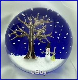 L. H. Selman Glass Bobbi Banford RARE Christmas Snowman Winter Paperweight Signed