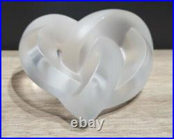 LALIQUE France twisted heart frosted crystal knotted Paperweight heart