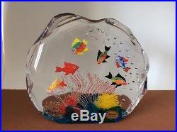 LARGE 1960s Italian Murano Glass Aquarium Paperweight Sculpture 6 Fish & Label