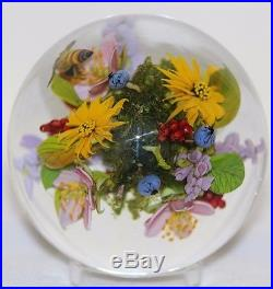 LARGE Awesome PAUL STANKARD Marble ORB Floral with HONEY BEE Art Glass PAPERWEIGHT