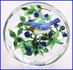 LARGE Awesome RICK AYOTTE Gorgeous BLUE WARBLER Bird ART Glass PAPERWEIGHT